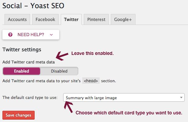 Twitter settings in Yoast SEO.
