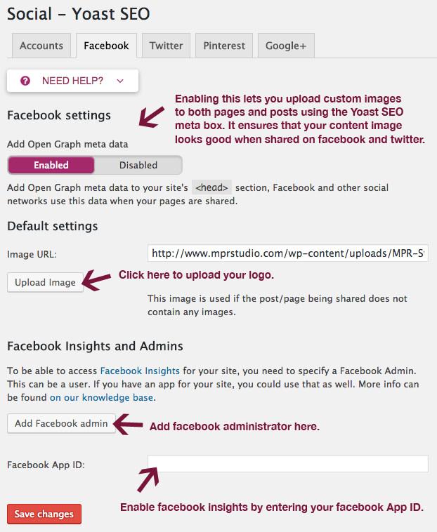 Facebook settings in Yoast SEO
