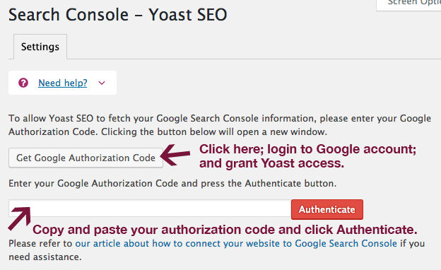 Authenticate Search Console account in Yoast.