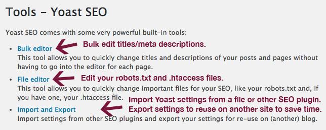 Tools in Yoast SEO plugin