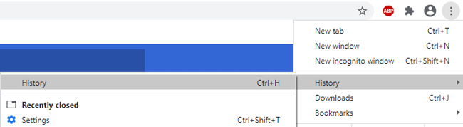 History in Chrome browser menu.