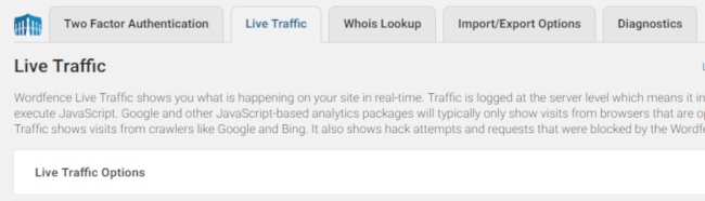 Live Traffic in Wordfence