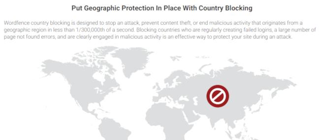 Country blocking in premium Wordfence Security plugin