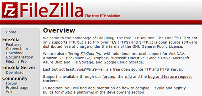 FileZilla ftp client for Mac or PC