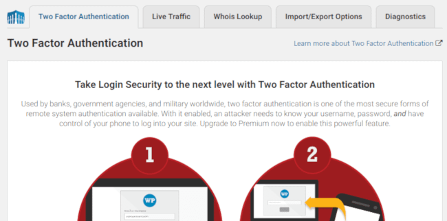 Two Factor Authentication in Wordfence Security
