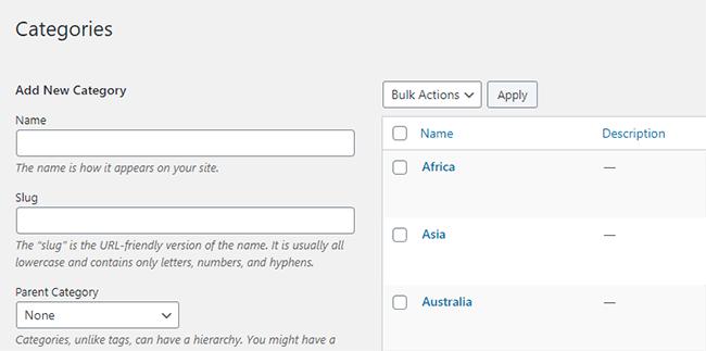 Post categories in WordPress