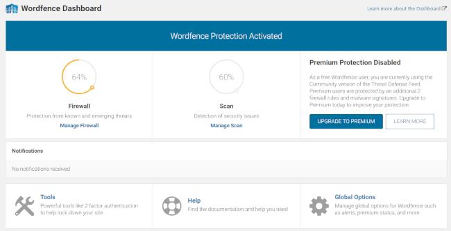 Wordfence Security dashboard