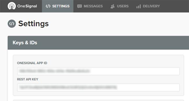 OneSignal APP ID and REST API KEY