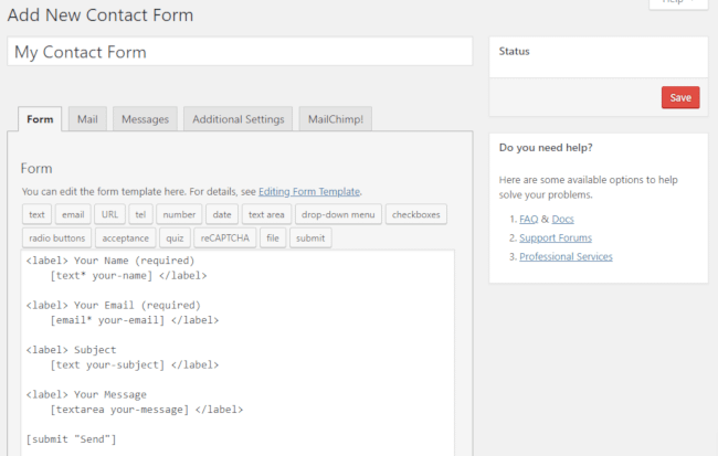 Adding a new contact form