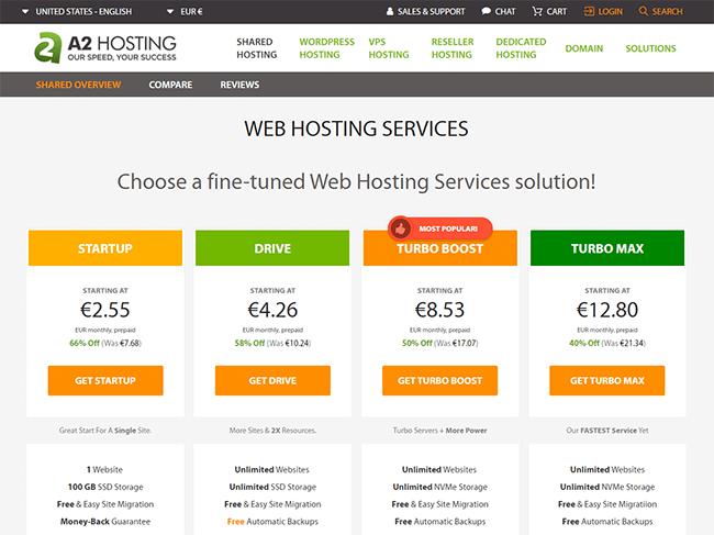 A2 shared hosting plans