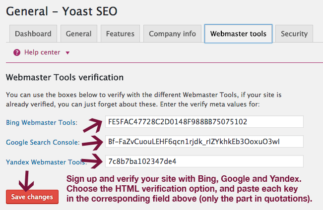 Webmaster Tools in Yoast SEO