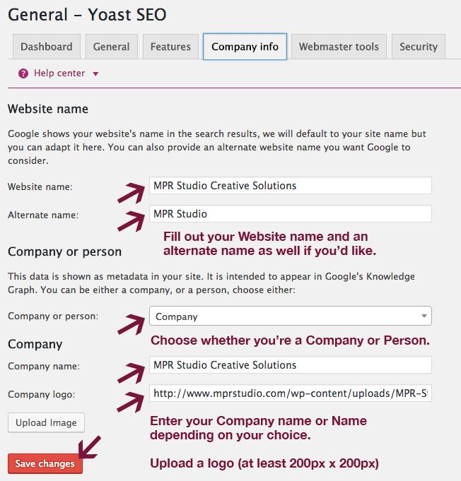 Company info tab in Yoast SEO plugin