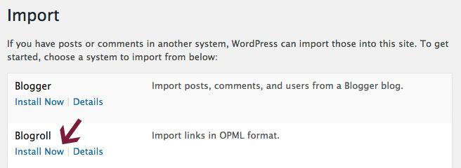 Import blogroll links