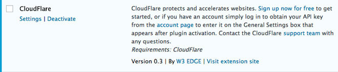 Activate Cloudflare in W3 Total Cache Extensions tab