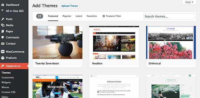 Free themes in WordPress dashboard