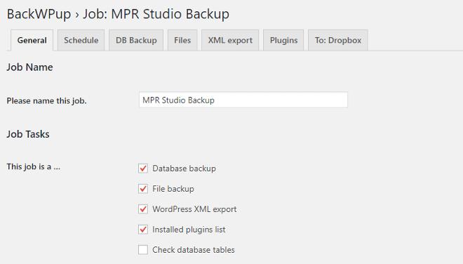 BackWPup general settings