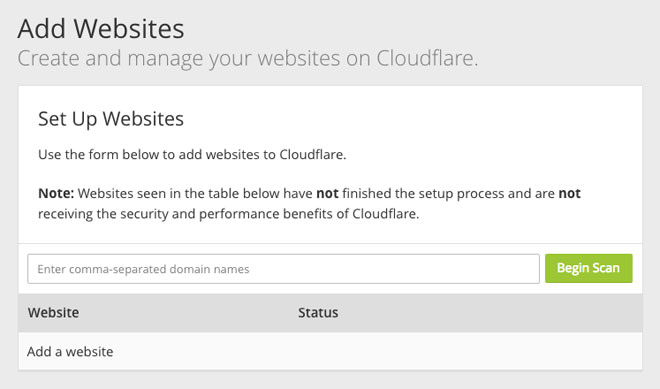 Add your site in Cloudflare.