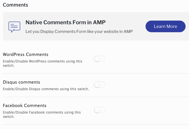 Add comments to your AMP content.