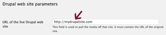 Drupal site parameters in FG Drupal to WordPress plugin