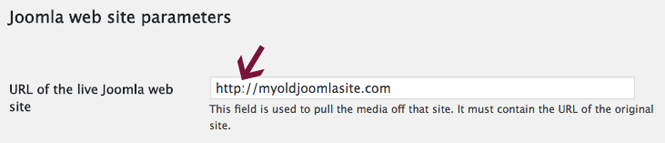 Enter the URL to your live Joomla site.