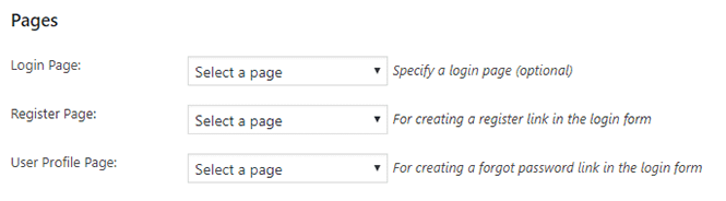 Pages settings in WP-Members