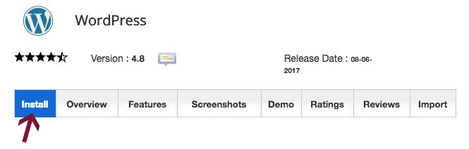 WordPress install button Softaculous
