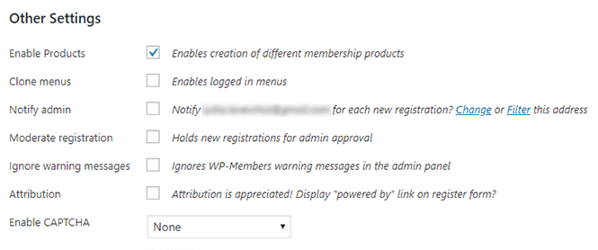 Other settings in WP-Members