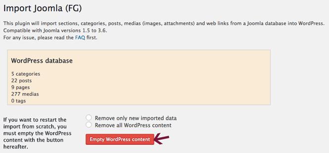 Empty WordPress content in Joomla importer.