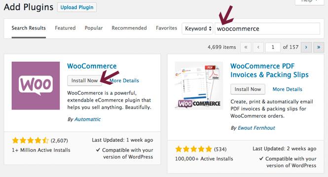 Install WooCommerce plugin