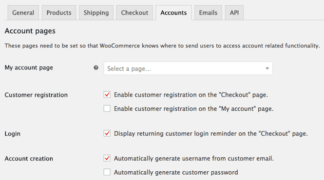 My account area in WooCommerce settings.