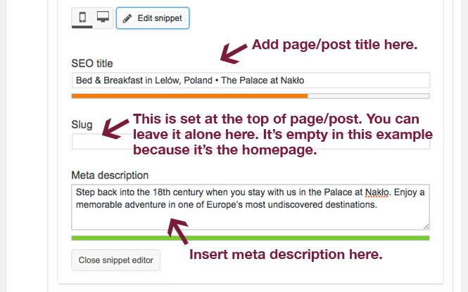 SEO title and meta description in Yoast SEO module.