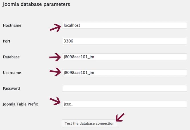Enter Joomla database details