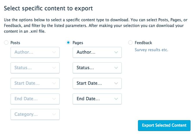 Export specific site items in WordPress.com.