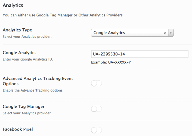 Analytics tab in the AMP for WP plugin