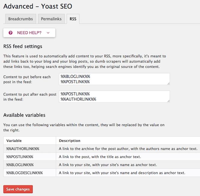 RSS settings in Yoast SEO.