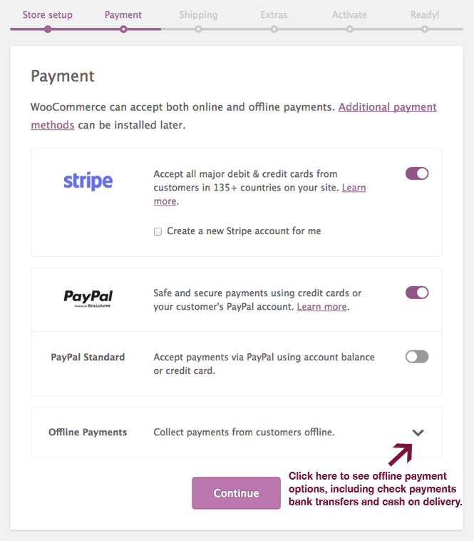 Payment options in WooCommerce