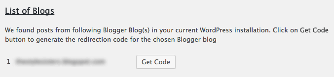 Get code for redirecting from Blogger to WordPress.