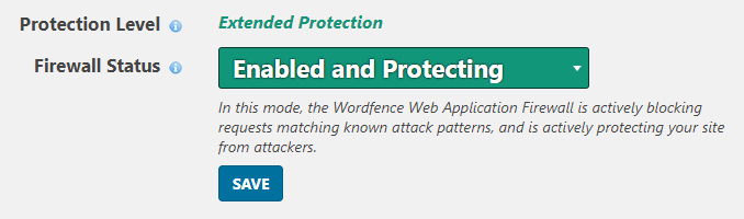 Extended protection in web application firewall settings.