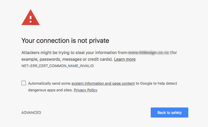 Connection not private warning in Google Chrome