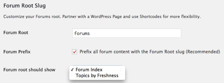Forum root slug options in bbPress.