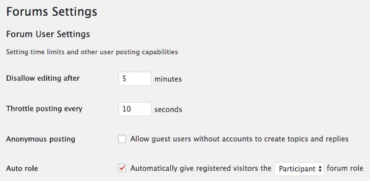 Forum user settings in bbPress