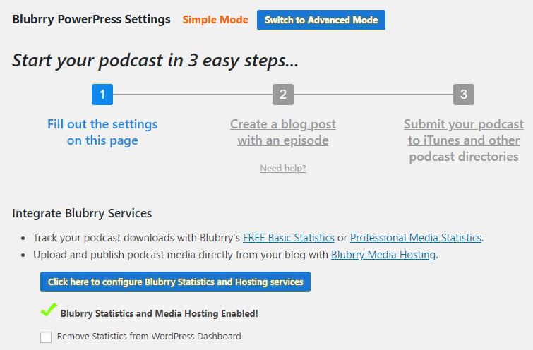 Configure Blubrry settings in PowerPress