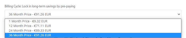 Choose A2 hosting billing cycle.