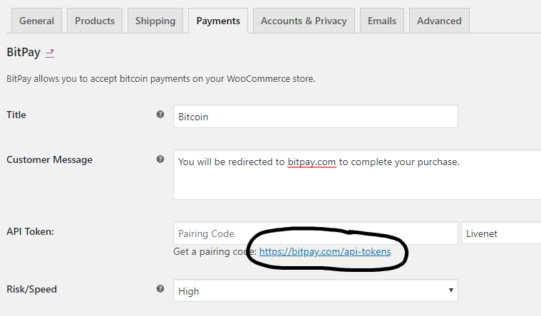 Generate API key for Bitpay settings in WooCommerce