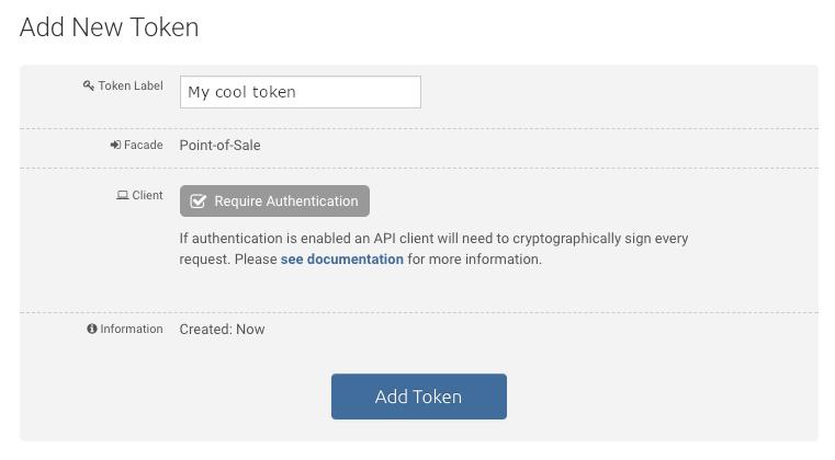 Add API token on bitpay