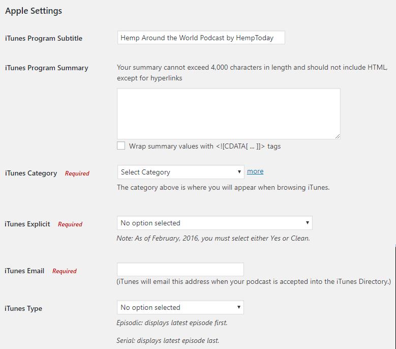 Apple settings in the PowerPress plugin