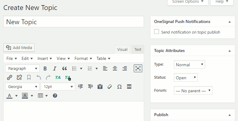Create new bbPress forum topic