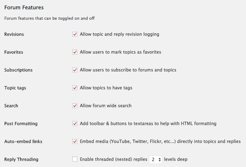 Forum features in bbPress