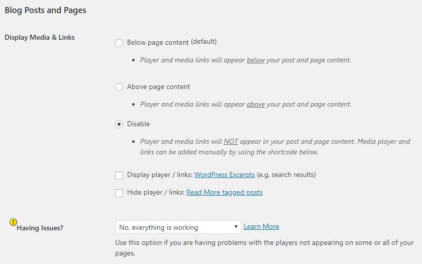 Blog post and page settings in PowerPress plugin.