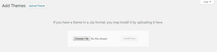Installing WP theme from zip file